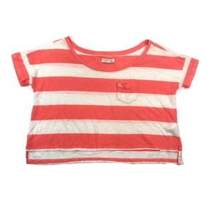 Gilly Hicks Coral & White Striped Boxy Crop Top